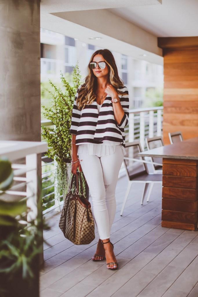 #OOTD // Striped Swing Jacket & White Skinnies   BondGirlGlam.com