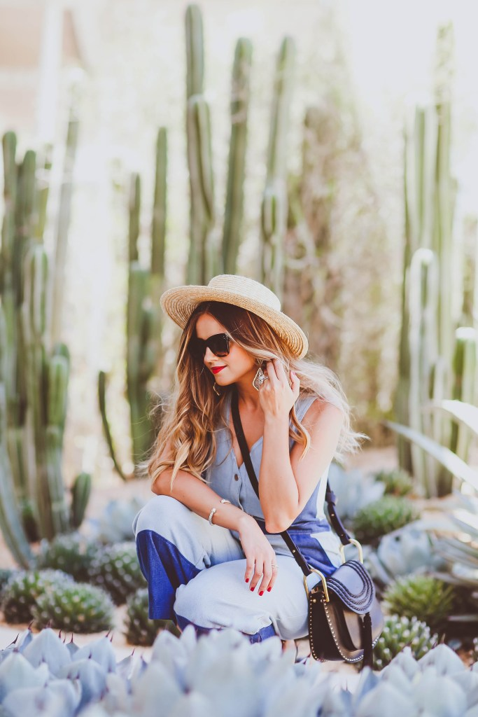 patchwork denim jumpsuit, buru white label, straw boater hat, celine sunglasses, chloe hudson bag, black strappy heels, summer outfit, chic mom outfit ideas