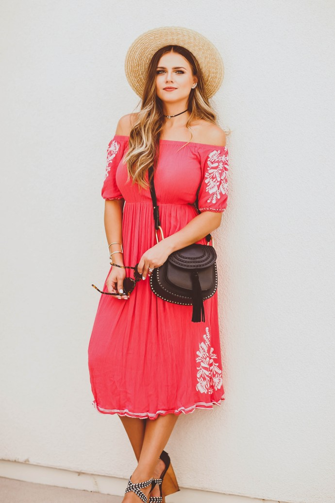 summer outfit, coral off-the-shoulder maxi dress, straw boater hat, chloe hudson crossbody bag, wedge sandals, moon and star choker, cool mom