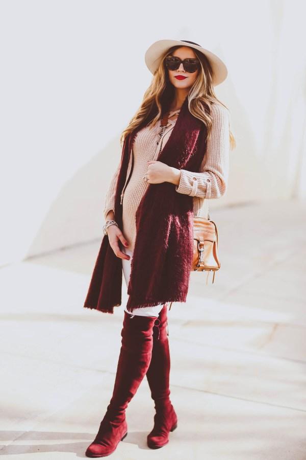 #BumpStyle // Beige Lace-Up Sweater, Burgundy Scarf & OTK Boots | BondGirlGlam.com