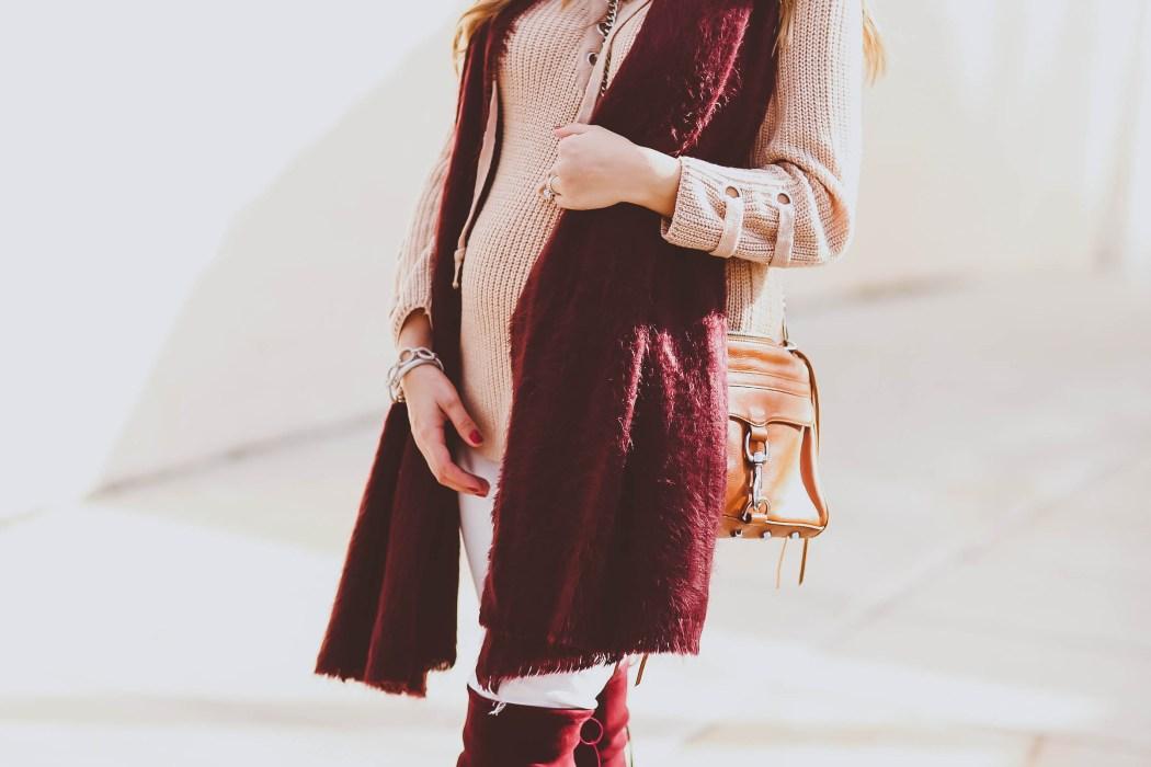 Bumpstyle Beige Lace Up Sweater Burgundy Scarf Amp Otk