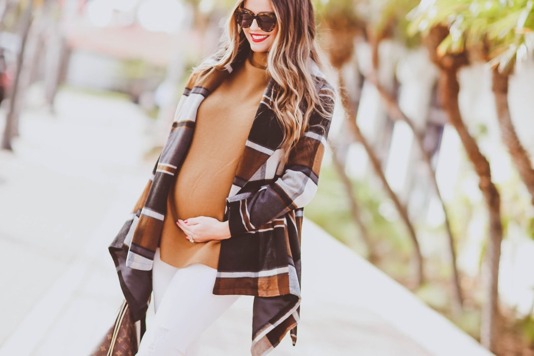 #BumpStyle // Checkered Wrap Coat & Brown Suede Booties | BondGirlGlam.com