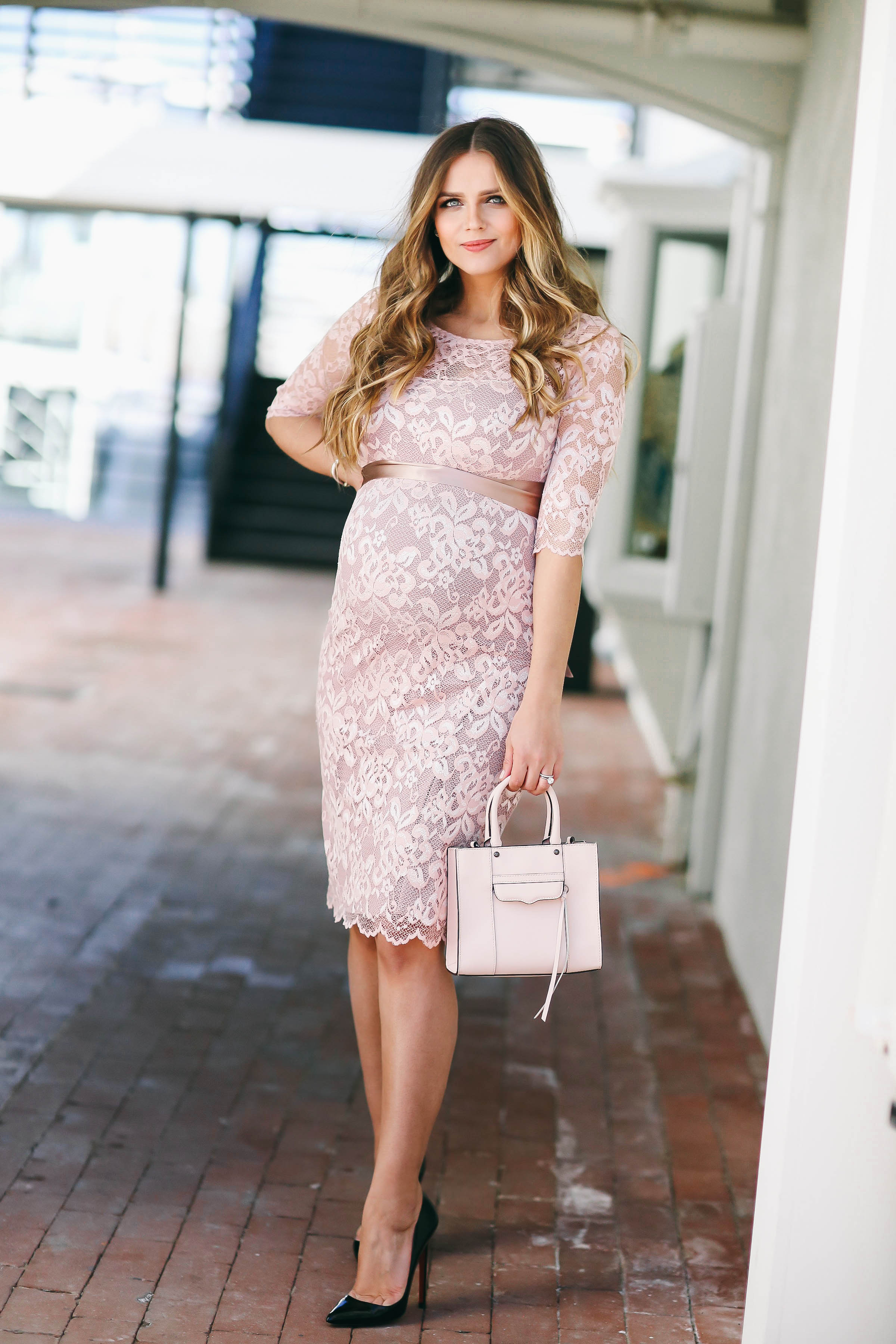 Pink maternity dresses for baby shower white floral fitted bumpstyle blush pink lace maternity dress ombrellifo Gallery