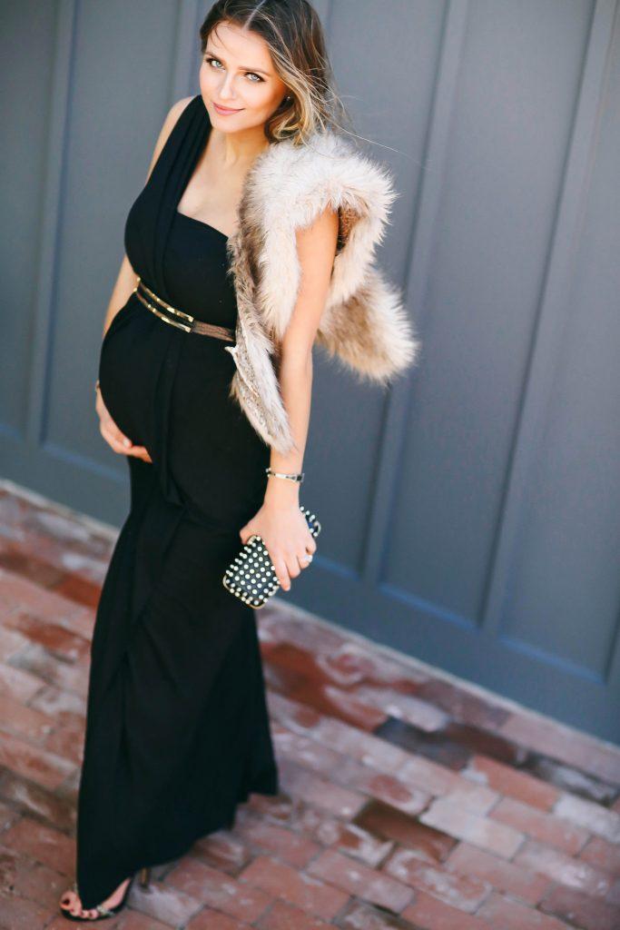#BumpStyle // Glamorous One-Shoulder Black Maternity Evening Gown   BondGirlGlam.com
