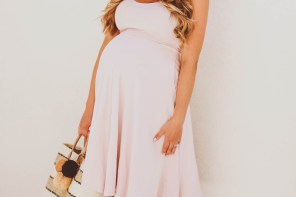 #BumpStyle // Blush Pink Midi Dress & Woven Pom Pom Tote