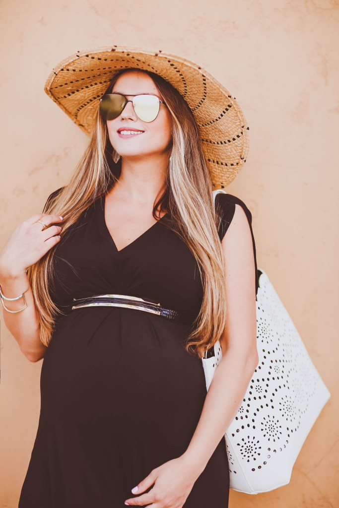 #BumpStyle // Split Kimono Sleeve Black Maternity Maxi Dress | BondGirlGlam.com