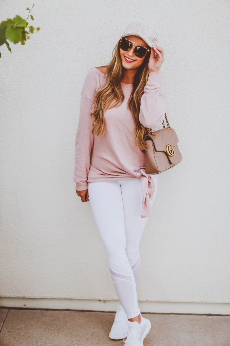 #OOTD // Blush Pink Tie Detail Sweatshirt & White Leggings