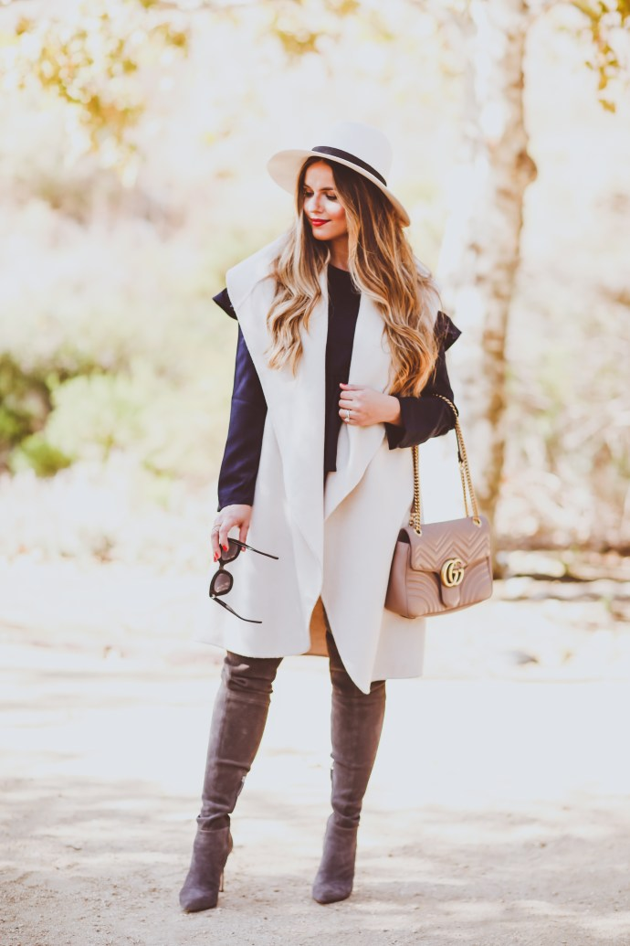 #OOTD // Cream Vest, Navy Cold Shoulder Top & Grey OTK Boots | BondGirlGlam.com