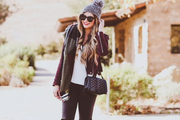 blanknyc burgundy suede moto jacket, grey fur pom beanie, bp blanket scarf, rebecca minkoff love crossbody bag, belly bandit mother tucker leggings, stuart weitzman black suede highland otk boots, winter outfit, winter fashion