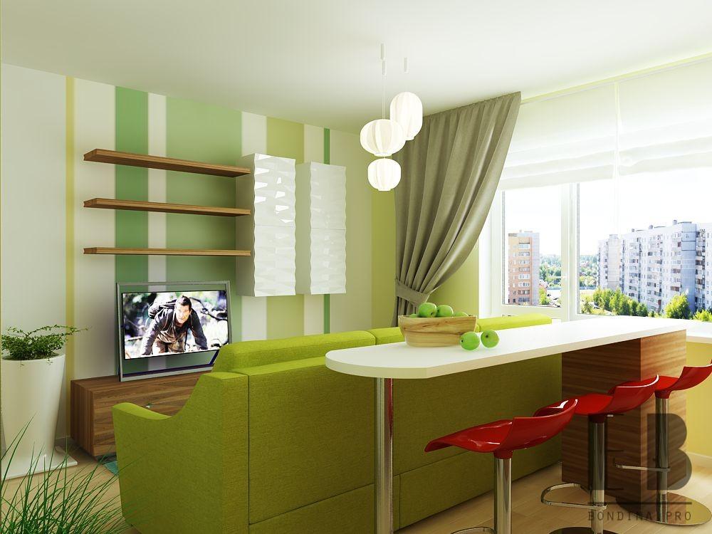 Tiny Studio Apartment Interior In Green Colors Bondina Pro