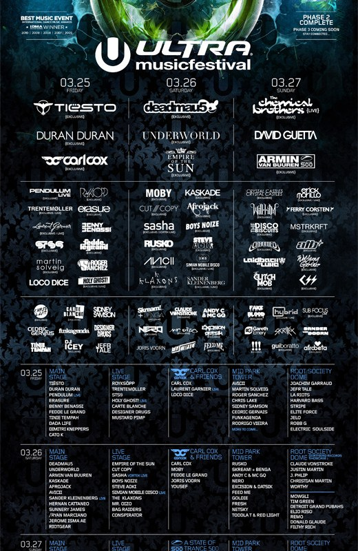 Ultra Music Festival March 2011 Line Up