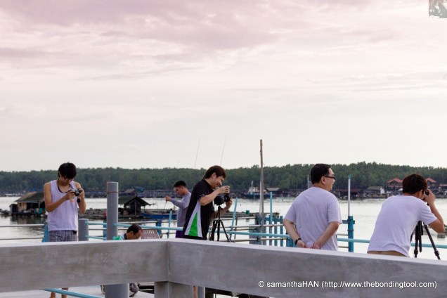 Getting ready to capture the sunset in Kukup.