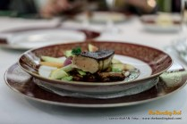 Seared goose liver in Portuguese Port wine sauce with sautéed figs and girolles. Beautifully executed with nice buttery taste and velvety texture.