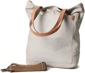 Blank canvas tote with leather straps
