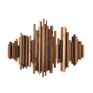 Sound wave wooden art piece