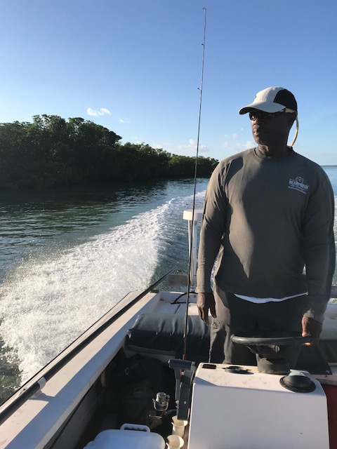 Herman looking for bonefish on the guide boat in Andros