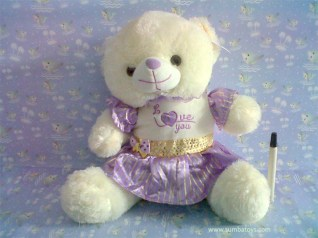 Purple Dress Bear Cream
