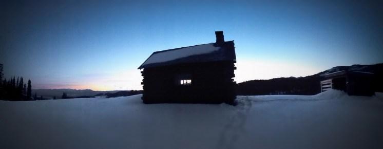 Sun rising over the cabin