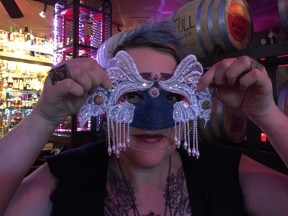 Kathy Sparkles mask making with the kids