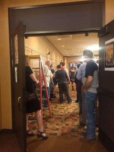 volunteer meeting during setup
