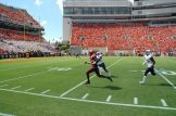 Virginia Tech's Isaiah Ford (1) takes the ball to the ECU 6-yard line on a 39-yard pass play that led to the Hokes' second touchdown. (Photo by Al Myatt)