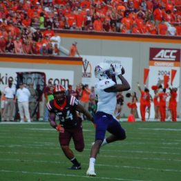 Zay Jones of ECU makes a catch for a 28-yard gain to the Virginia Tech 9-yard line to start the second quarter. (Photo by Al Myatt)