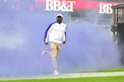 First year head coach Scottie Montgomery leads the Pirates into their 2016 season opener against in-state foe Western Carolina. (Bonesville Staff photo)