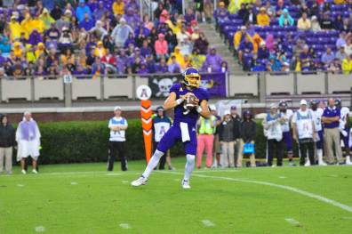Quarterback Philip Nelson sets to throw against Western Carolina. The Pirates moved to 1-0 in the 2016 campaign after a 52-7 win Saturday. (Bonesville Staff photo)