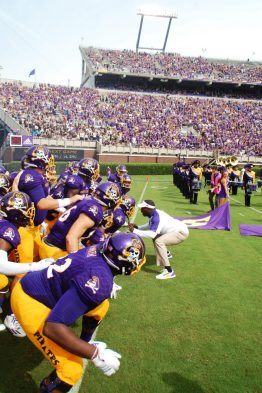 ECU players break it down under the leadership of Coach Scottie Montgomery before taking on Central Florida.