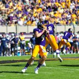 Quarterback Philip Nelson looks for an open receiver in the pocket. The senior threw for 253 yards and two touchdown and completed 29 of 41 attempts in a 41-3 win over UCONN (W.A. Myatt photo)