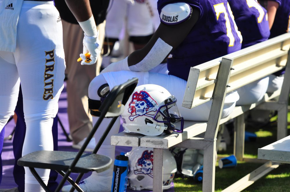East Carolina wore red, white and blue helmets on Military Appreciation Day. (Bonesville Staff photo)