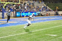 Chris Love motors upfield on a kickoff return for ECU.