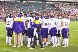 The East Carolina defensive unit gathers during a timeout on Saturday night. (Al Myatt photo)