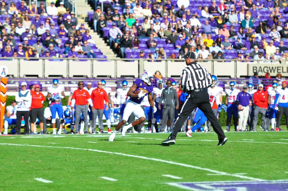 Zay Jones turns upfield after another catch for the Pirates. (Bonesville Staff photo)
