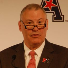 AAC commissioner Mike Aresco delivered his annual address at football media day. (Photo by Al Myatt)