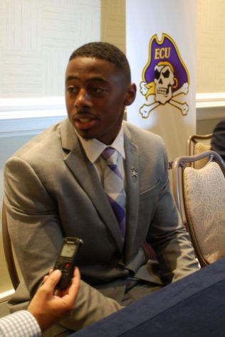 ECU receiver Jimmy Williams talks football during the interview session. (Photo by Al Myatt)
