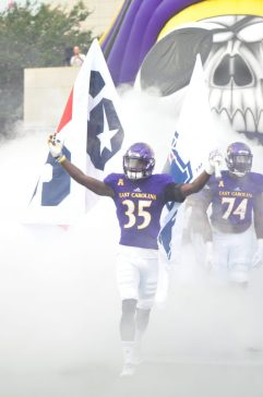 Senior defensive back Chris Love takes the field in East Carolina's 2017 season opener against JMU.