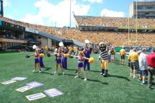 East Carolina cheerleaders do their thing at Milan Puskar Stadium on Saturday. (Photo by Al Myatt)
