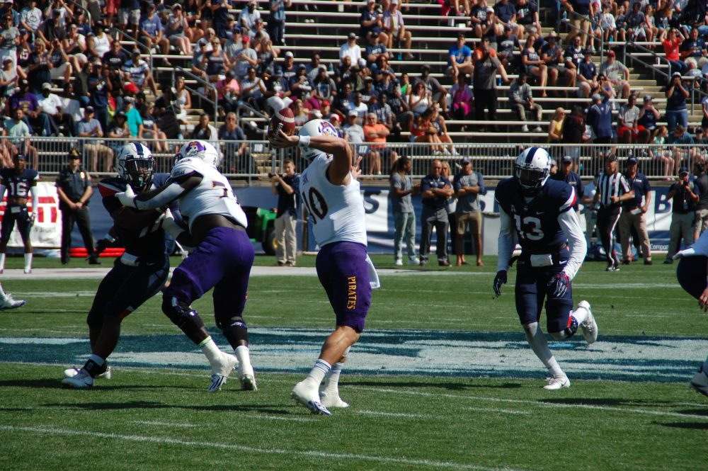 East Carolina's Thomas Sirk passes on a sunny afternoon at Pratt & Whitney Stadium at Rentschler Field in East Hartford, CT. (Photo by Al Myatt)