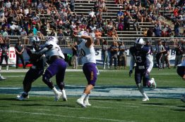 East Carolina's Thomas Sirk passes on a sunny afternoon at Pratt & Whitney Stadium at Rentschler Field in East Hartford, CT. (Photo by Al Myatt)
