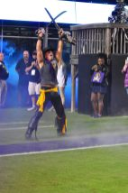 The Pirate makes a grand entrance to Dowdy-Ficklen Stadium on Saturday night. (Photo by Al Myatt)