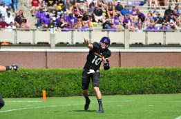 ECU quarterback Thomas Sirk throws a pass to the flats. The graduate transfer threw for 253 yards against the Owls, completing 20 of 38 attempts with one touchdown and one interception. (Photo by Bonesville Staff)
