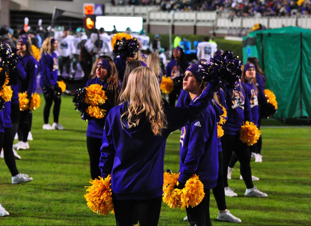 ECU cheerleaders were dressed for chilly conditions. (Photo by Al Myatt)