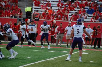 ECU receiver Jimmy Williams (81) waits for a pass to arrive at Houston on Saturday. (Photo by Al Myatt)