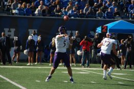 Junior quarterback Gardner Minshew passes for the Pirates. (Photo by Al Myatt)