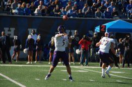 Junior quarterback Gardner Minshew passes for the Pirates. (Photo by Al Myatt)