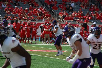 Pirates quarterback Gardner Minshew checks potential receivers during a drive Saturday at Houston. (Photo by Al Myatt)