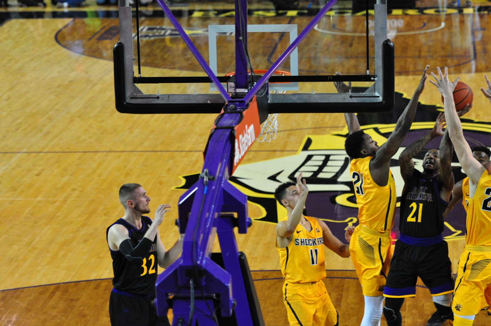 East Carolina senior B.J. Tyson looks to get a shot up in Wichita State traffic.