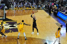 Pirate freshman Dimitri Spasojevic waits for the ECU offense to develop.