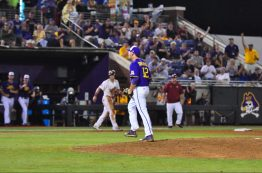 Senior Davis Kirkpatrick reacts as he gets out of a jam against South Carolina. (Photo by W.A. Myatt)